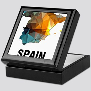 Polygon Mosaic Map of Spain Keepsake Box